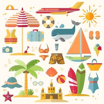 Летний отдых, туризм и отдых плоские иконки. иллюстрация аксессуаров летних каникул