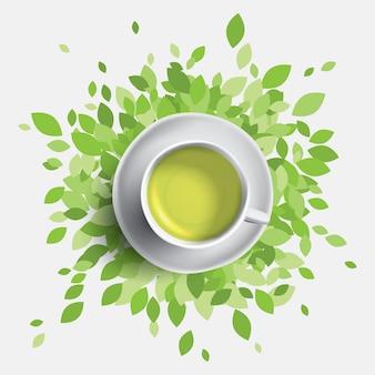 緑茶カップのイラスト。お茶のマグカップと緑の葉。健康の概念。