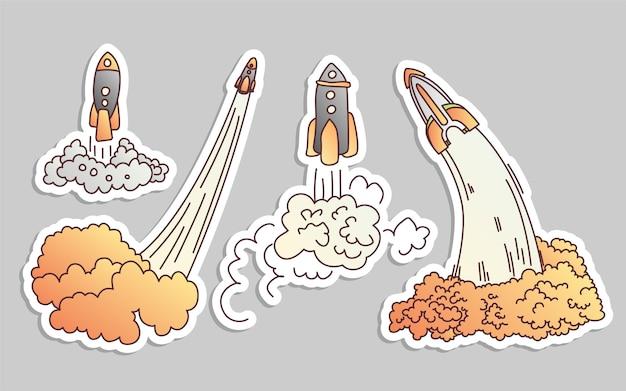 Запуск ракеты мультфильм иллюстрации значок набор.