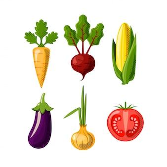 白い背景で隔離の野菜フラットアイコン。にんじん、ビートルートまたはビート、コーン、タマネギ、トマト、ナス。健康食品-野菜のフラットアイコンセット