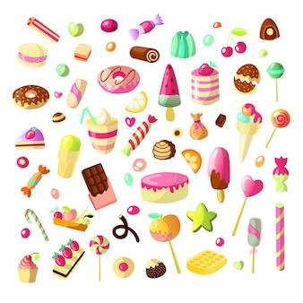 白い背景の上の漫画の甘いお菓子のセット。ケーキ、ゼリー、チョコレート、キャンディーのコレクション。