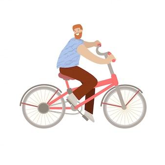Счастливый человек битника едет велосипед города, усмехаясь счастливый молодой человек на велосипеде, иллюстрация, делая деятельность спорта города лета.