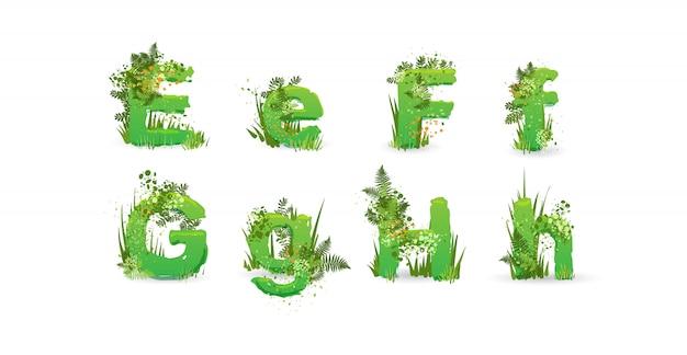 Зеленые листья вектор алфавит. стильная азбука с разноцветными тропическими листьями, кустами, цветами и элементами природы