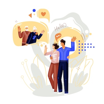 Мужчина и женщина гуляют и разговаривают по онлайн видео конференции с семьей, пожилыми людьми. плоская концепция онлайн-общения и виртуальной семейной встречи. смартфон онлайн чат иллюстрация