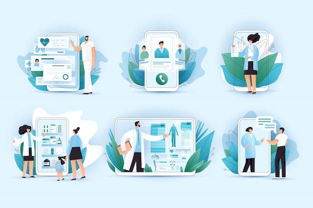 Концепция медицины онлайн квартиры. врачи и медсестры помогают в лечении, подбирают правильные таблетки в интернет-аптеке, консультируют медика по телефону и планшету