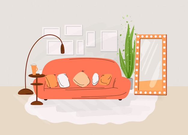 リビングルームのインテリア。ソファ、テーブル、本、植物、装飾アクセサリーが付いている棚のある居心地の良い部屋のデザインとフラットの図。居心地の良いリビングルームのイラスト