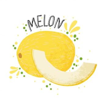 ベクターの手描きメロンイラスト。白い背景で隔離のジューススプラッシュと黄色の熟したメロン。