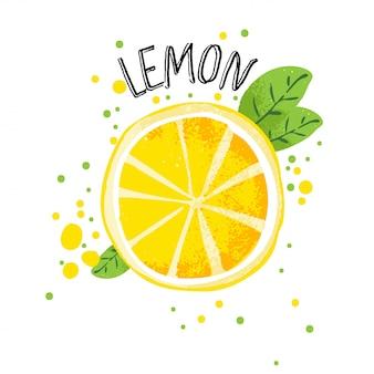 ベクターの手描きレモンイラスト。半分と白い背景で隔離のジュースの飛散とレモンのスライス。