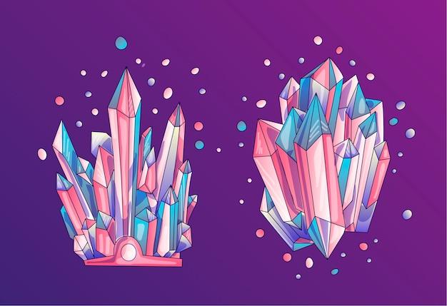 水晶の青とピンクの結晶、漫画かわいいイラスト。