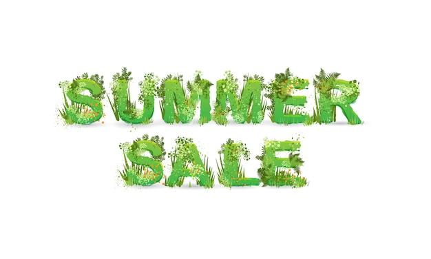 Иллюстрация слова летняя распродажа с заглавными буквами, стилизованные под тропический лес, с зелеными ветками, листьями, травой и кустами рядом с ними, изолированные