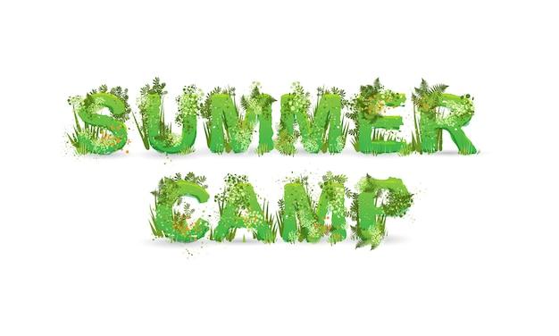 Иллюстрация слова летний лагерь с заглавными буквами, стилизованные под тропический лес, с зелеными ветками, листьями, травой и кустами рядом с ними, изолированные