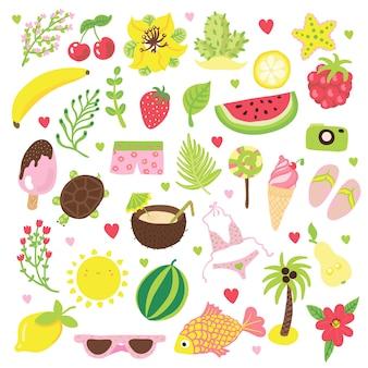 Набор летних и праздничных элементов иллюстрации