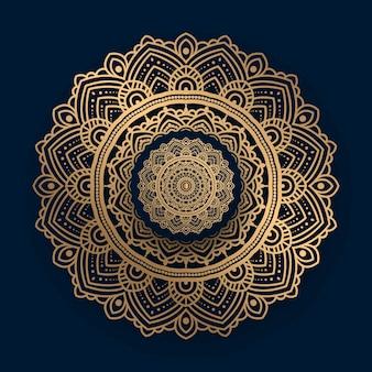 Роскошная мандала с золотым исламским рисунком