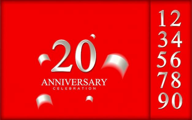 赤い背景のお祝いのための銀の数字の豪華なセット