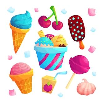 Вкусные сладости мультфильм вектор наклейки набор. мороженое, конфеты, сок значок коллекции. освежающая летняя пачка десертов для детей. вкусные угощения на белом фоне. записки патчи