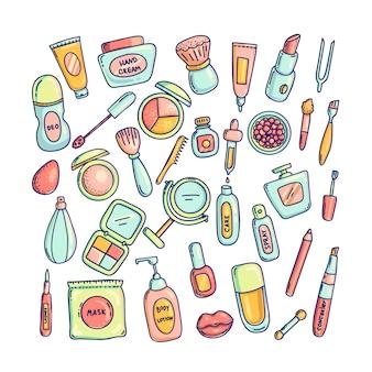 装飾的な化粧品のアイコンセットのさまざまなパッケージの大きなセット。化粧道具のイラスト集。漫画の色の落書きスタイル。