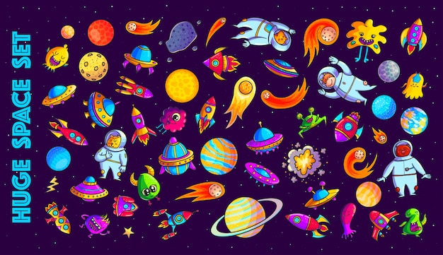 Космический набор рисованной иллюстрации шаржа