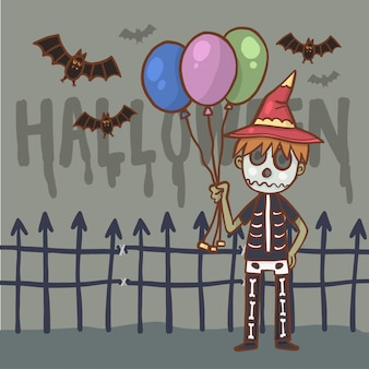 漫画のキャラクターの少年ハロウィンの衣装