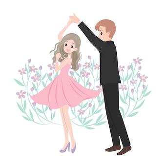 踊る結婚カップルの漫画のキャラクター