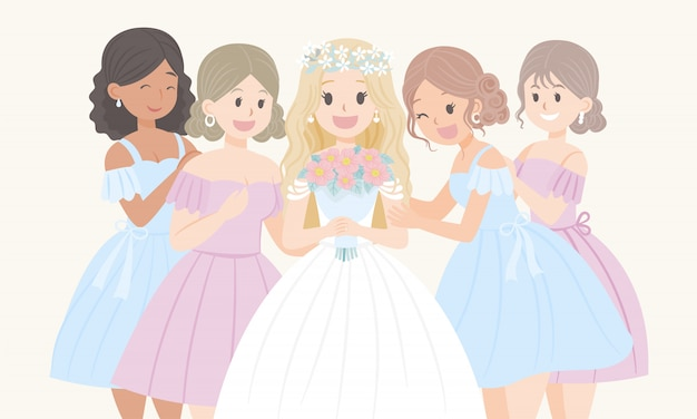 女性漫画のキャラクターの花嫁介添人の結婚式