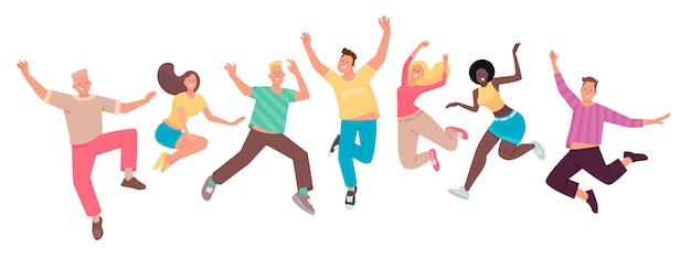 幸せな人がジャンプします。面白いキャラクターのセット。若者。幸福、喜び、成功の概念