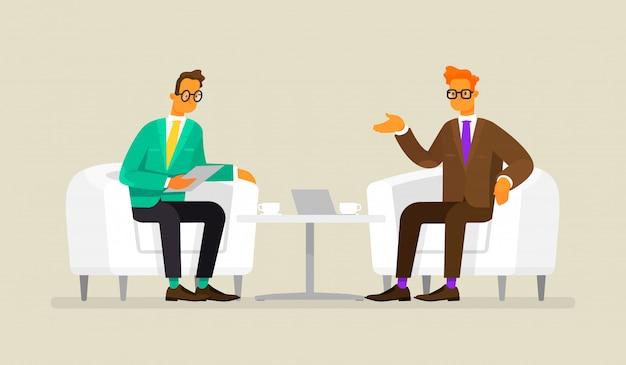 Деловые переговоры. мужчины сидят в креслах и обсуждают работу и сотрудничество, иллюстрации в плоском стиле