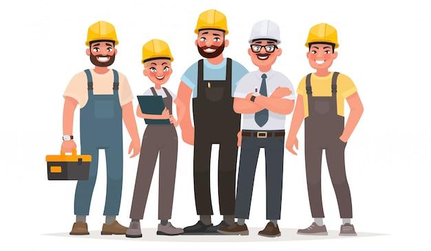 産業労働者。ビルダーのチーム。エンジニア、技術者、さまざまな職業の労働者