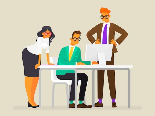チームワーク。プロジェクトを作成します。ビジネス人々の仕事、フラットスタイルのイラスト