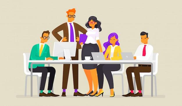 チームワーク。ビジネス人々、フラットスタイルのイラストの会議
