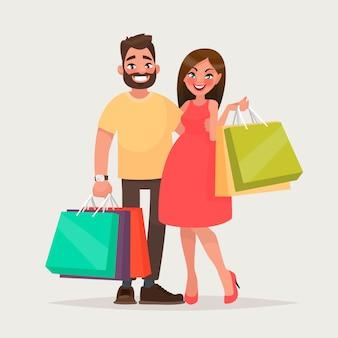 ショッピングの若者のカップル。
