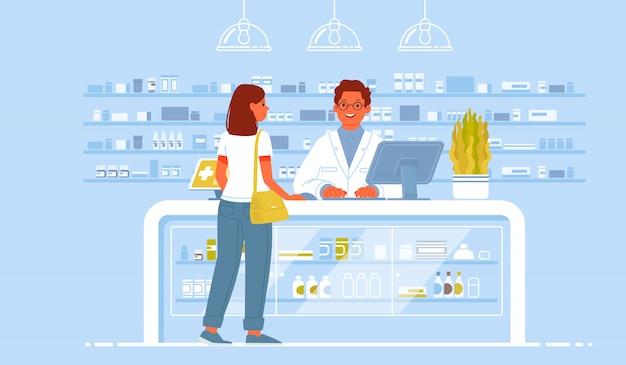 薬剤師の医師とドラッグストアの患者。クライアントの女性が薬局で薬を買う