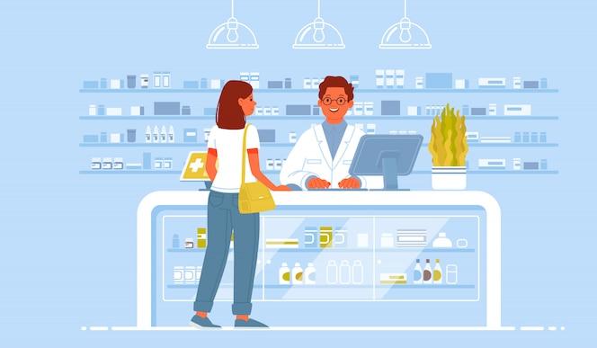 Фармацевт врач и пациент в аптеке. женщина-клиент покупает лекарства в аптеке