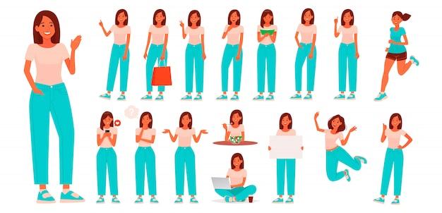 カジュアルな服装の若い女性のキャラクターのセット。さまざまなポーズやジェスチャーを持つ少女は、日常の活動に従事しています
