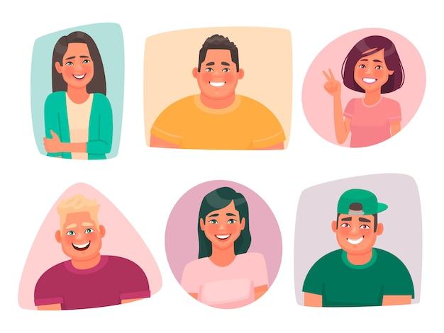 幸せな若者の肖像画のセット。学生の笑顔の男と女のアバター。男性と女性の楽しいキャラクター