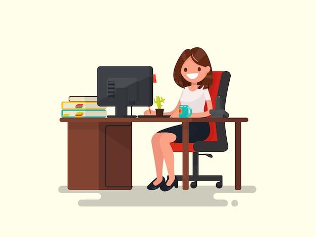 職場でのビジネスの女性。後ろにオフィスワーカーの女性、作業机の図