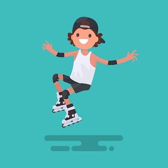 フラットなデザインのローラースケートイラストに乗って快活な少年