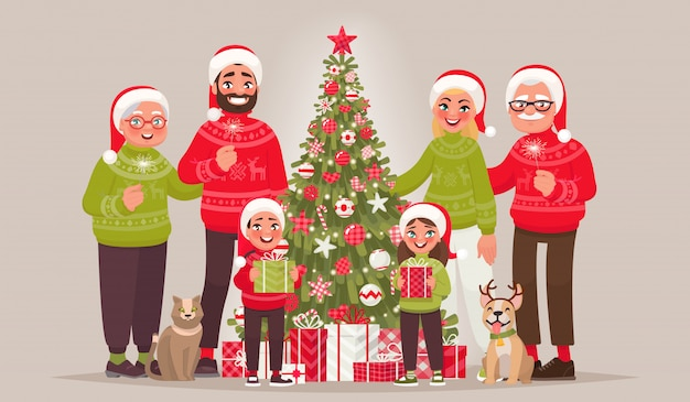 クリスマスツリーの近くの大きなうれしそうな家族。メリークリスマス、そしてハッピーニューイヤー
