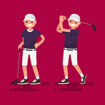 Гольф. иллюстрация игрока в гольф