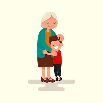 孫が祖母のイラストを抱いて