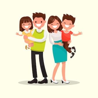 Счастливая семья. отец, мать, сын и дочь вместе иллюстрации