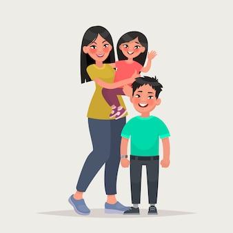 子供を持つアジアの女性。娘と息子とママ