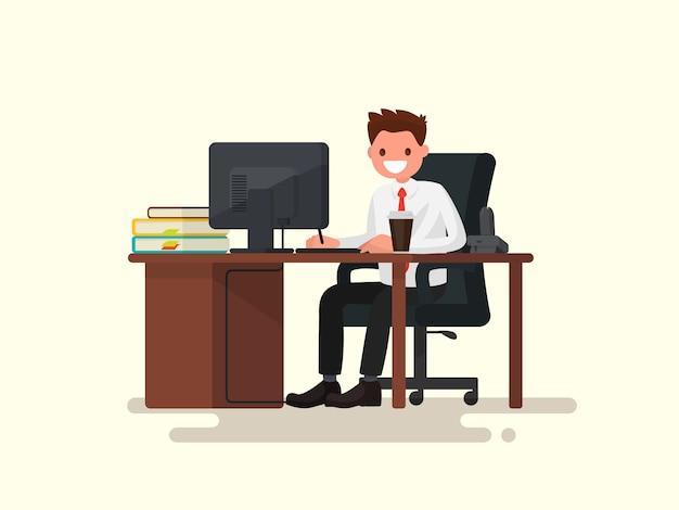 Офисный работник человек за столом иллюстрации