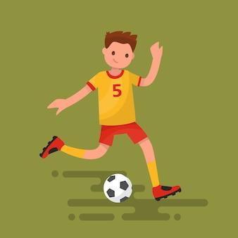 サッカー選手がボールのイラストを蹴る