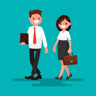 Два бизнес-партнера идут вместе иллюстрации