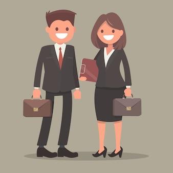 ビジネスマンおよびビジネスウーマン。オフィスワーカー。仕事中の男女。労働者のカップル