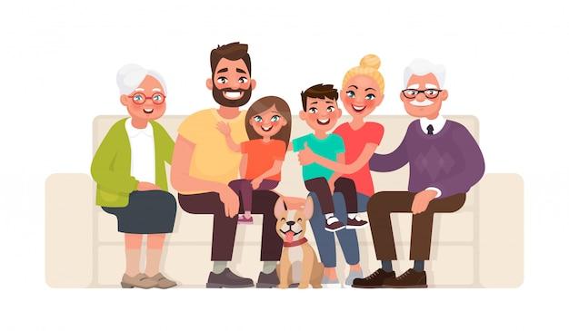 ソファに座って大きな幸せな家族。祖母、祖父、父、母、子供、ペット