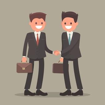 握手ビジネスの男性。フラットデザインの