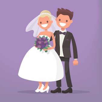 幸せな新婚夫婦。新郎新婦が一緒に。 。結婚式招待状のキャラクター
