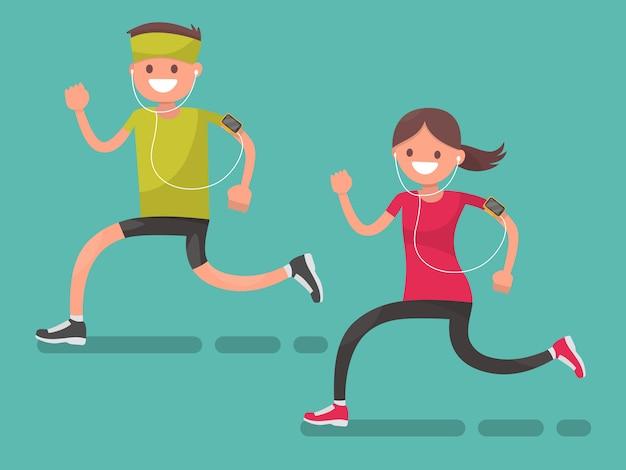 Мужчина и женщина для пробежки