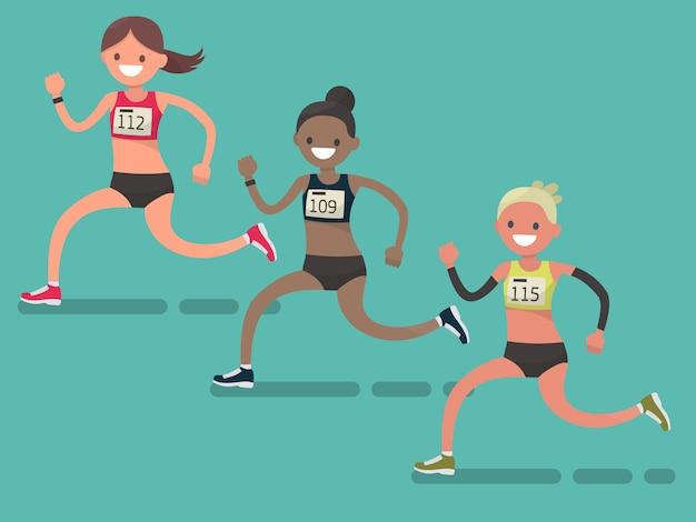 Участники международного женского марафона. бегущие женщины